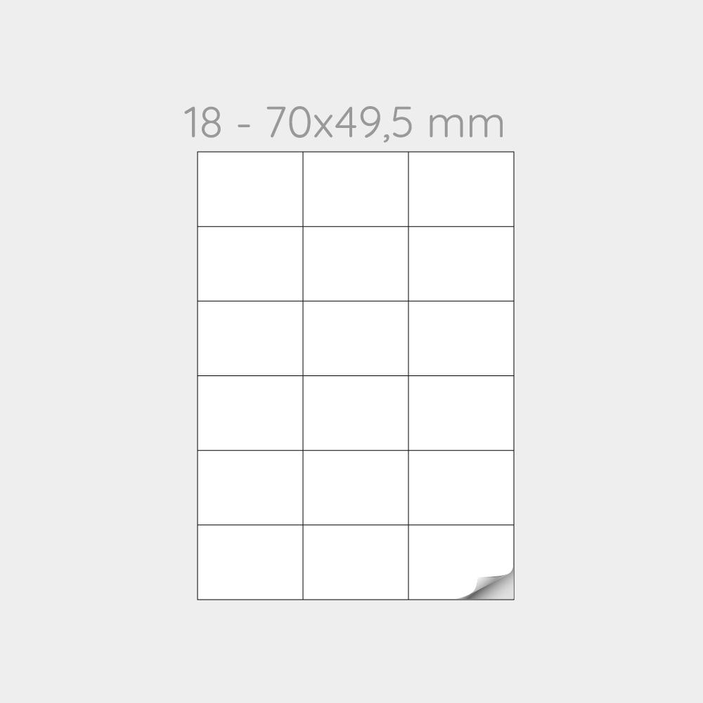 FOGLIO A4 PER STAMPANTI LASER SUDDIVISO IN 18 ETICHETTE 70x49,5 mm -1000 FOGLI