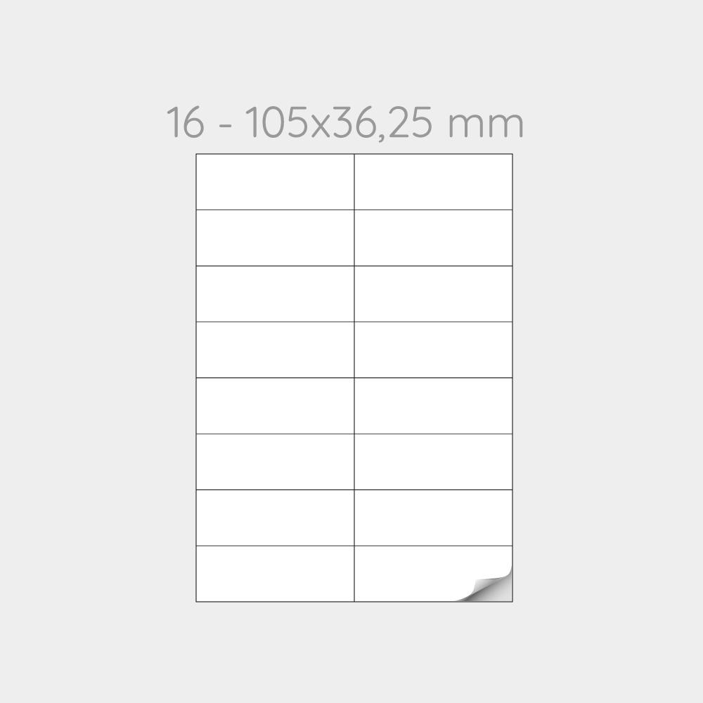FOGLIO A4 PER STAMPANTI LASER SUDDIVISO IN 16 ETICHETTE CON 2  -1000 FOGLI