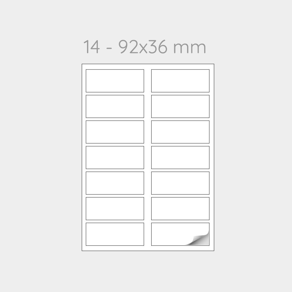 FOGLIO A4 PER STAMPANTI LASER SUDDIVISO IN 14 ETICHETTE 92x36 mm -1000 FOGLI