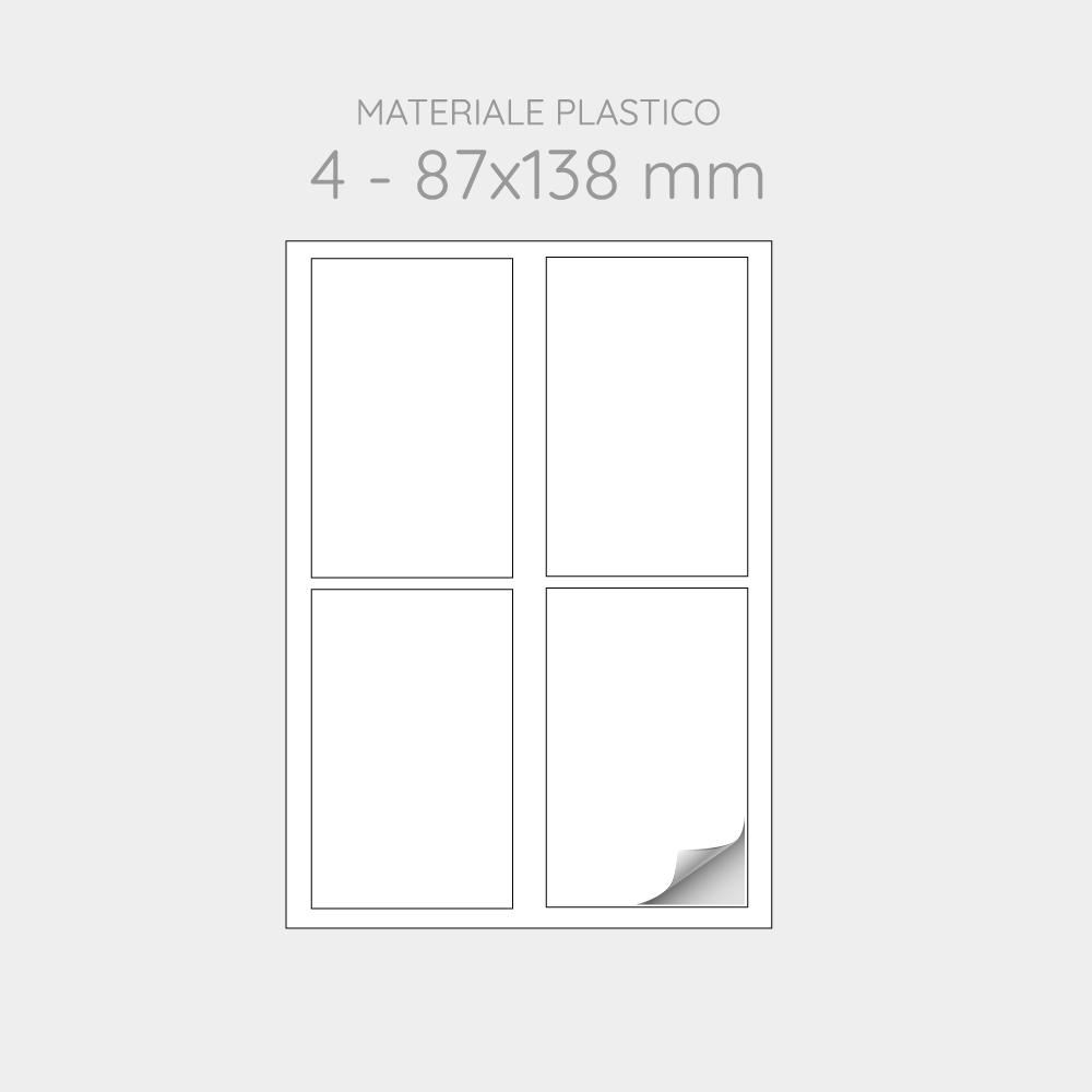 FOGLIO A4 PER STAMPANTI LASER SUDDIVISO IN 4 ETICHETTE 87x138 mm IN PP -1000 FOGLI