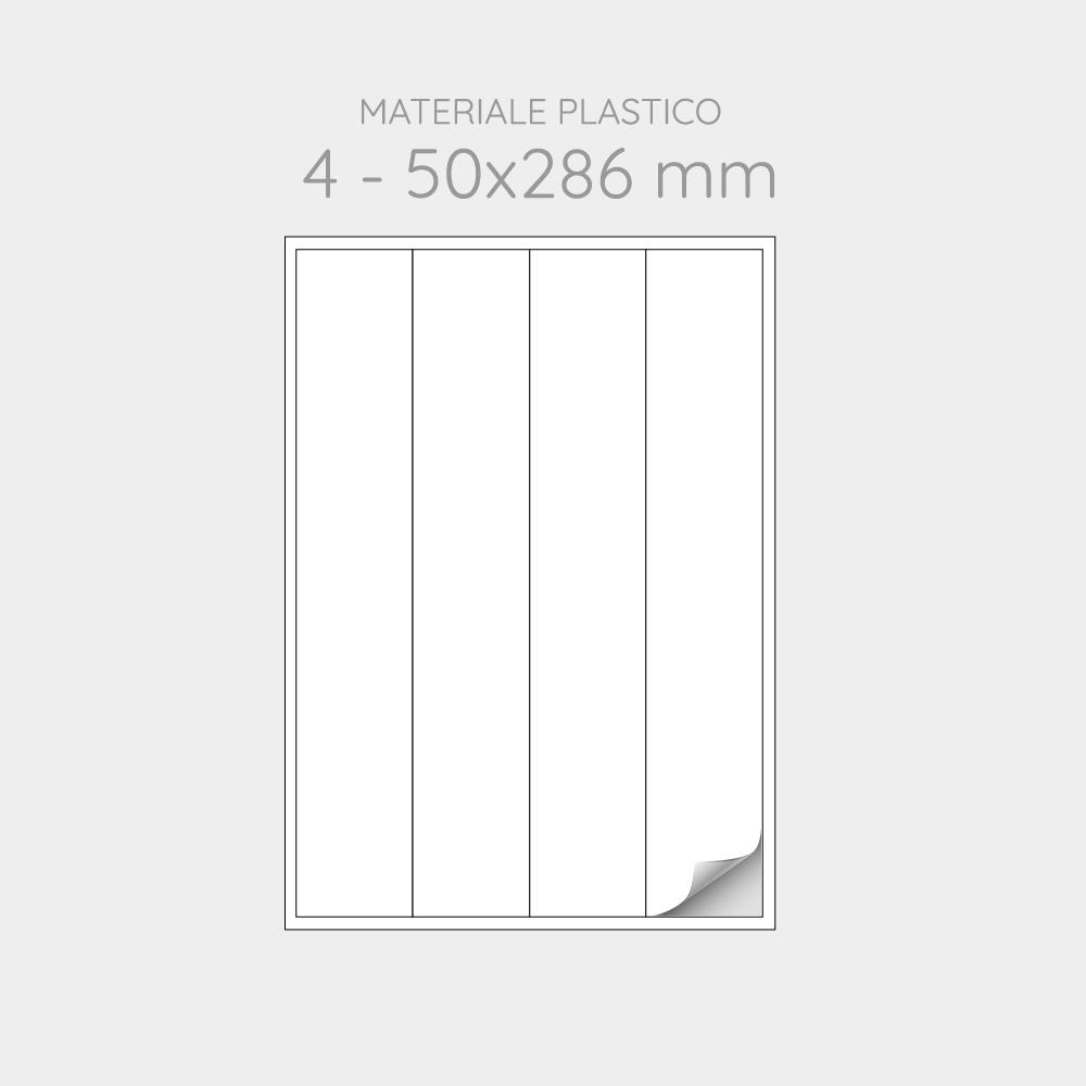 FOGLIO A4 PER STAMPANTI LASER SUDDIVISO IN 4 ETICHETTE 50X286 mm IN PP - 1000 FOGLI