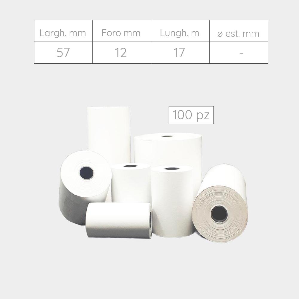ROTOLI PER POS, TERMINALI E CALCOLATRICI IN CARTA TERMICA - 57 mm X foro 12 mm X 17 metri