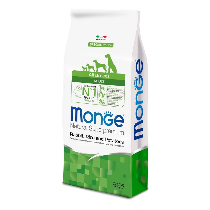 MONGE ALL BREED ADULT CONIGLIO, RISO E PATATE