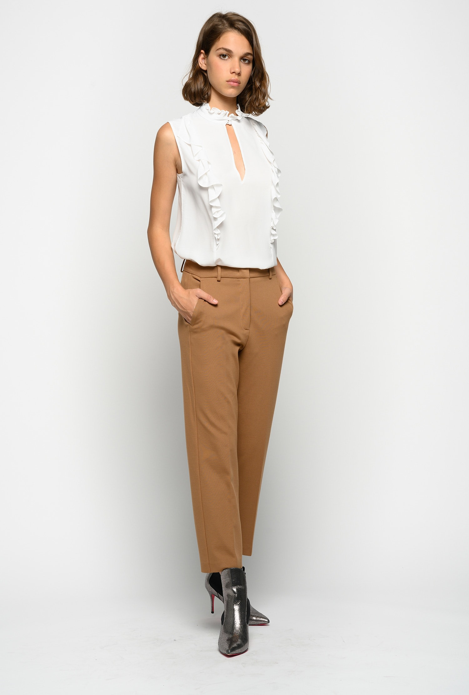 SHOPPING ON LINE PINKO PANTALONE IN GABARDINE DI LANA STRETCH BELLO 98 NEW COLLECTION WOMEN'S FALL WINTER 2020/2021