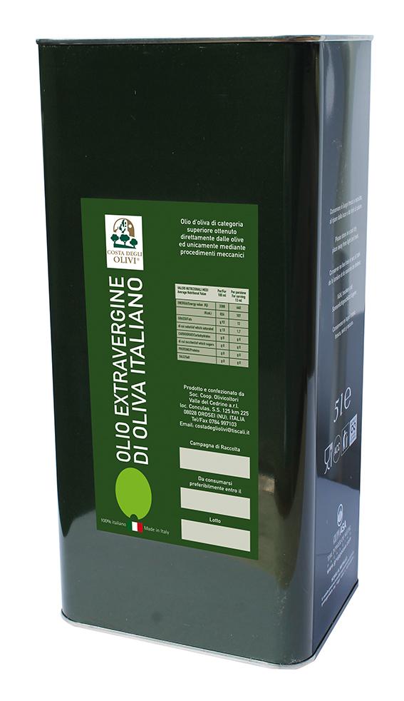OLIO - EXTRAVERGINE - OLIVA - 100% ITALIANO - 3 LT - COSTA DEGLI OLIVI