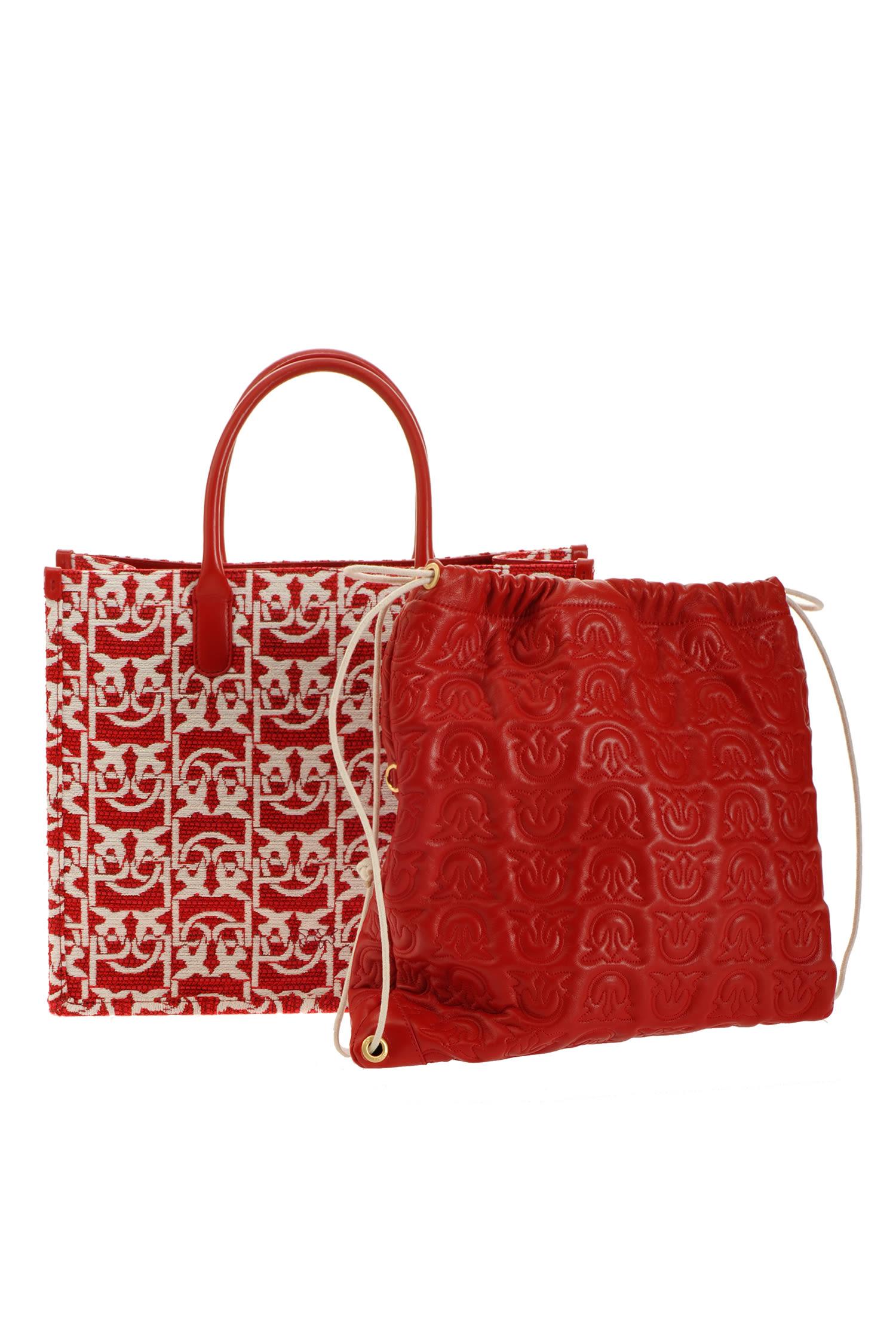 Borsa love bag shopping monogram in jacquard Pinko