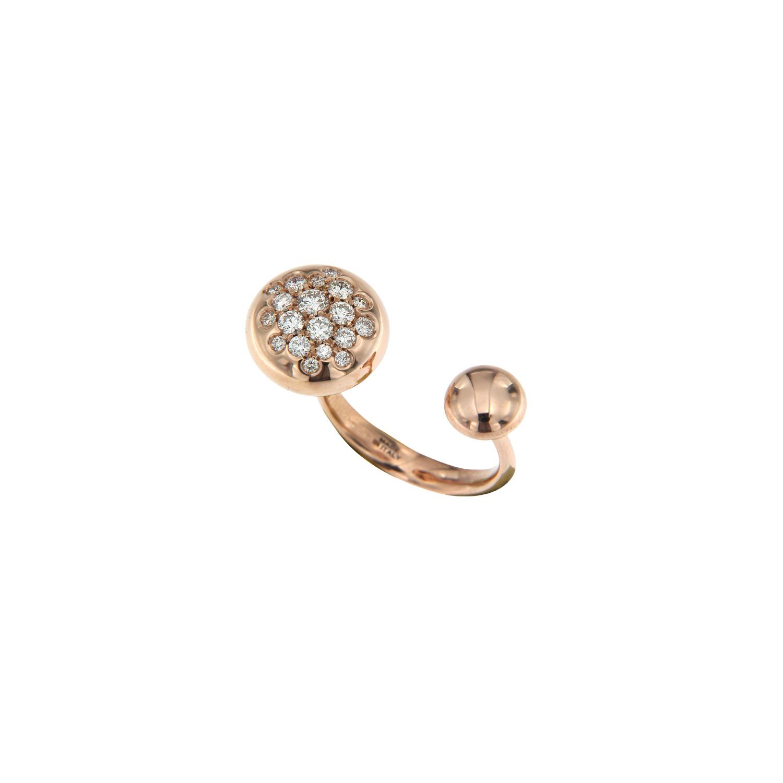 Anello borchie in oro rosa e diamanti