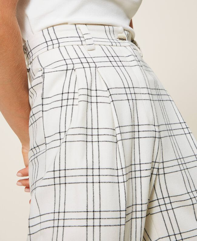 SHOPPING ON LINE TWINSET MILANO PANTALONI IN MISTO LANA CHECK NEW COLLECTION WOMEN'S FALL WINTER 2020/2021