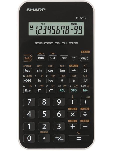 Sharp EL-501XB Tasca Calcolatrice scientifica Nero, Bianco calcolatrice
