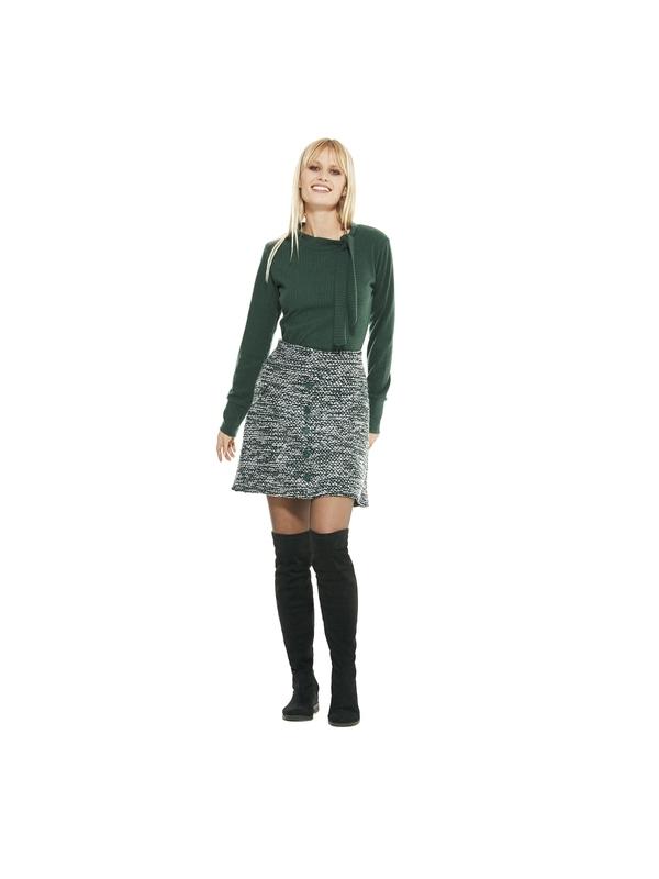 Maglia donna in tinta unita verde   Shop online moda invernale