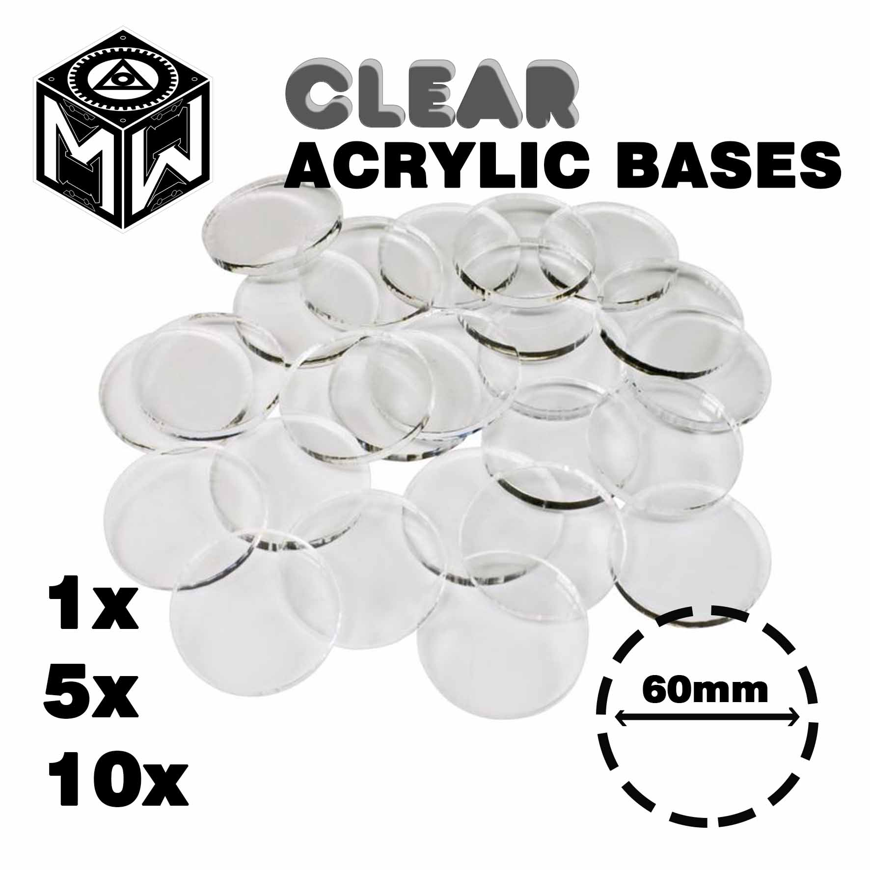 3mm Acrylic Clear Bases, Round 60mm