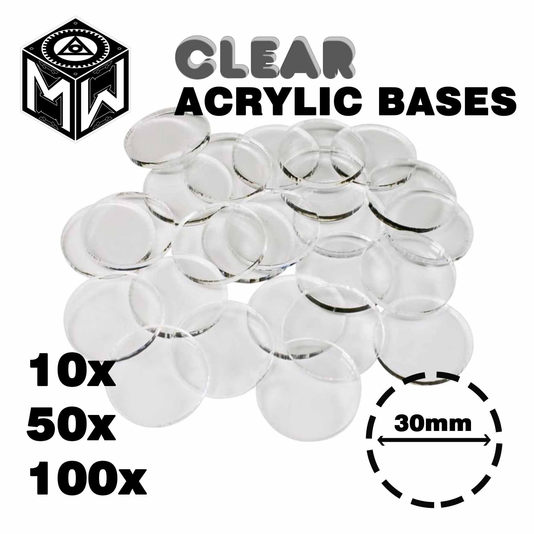 3mm Acrylic Clear Bases , Round 30mm