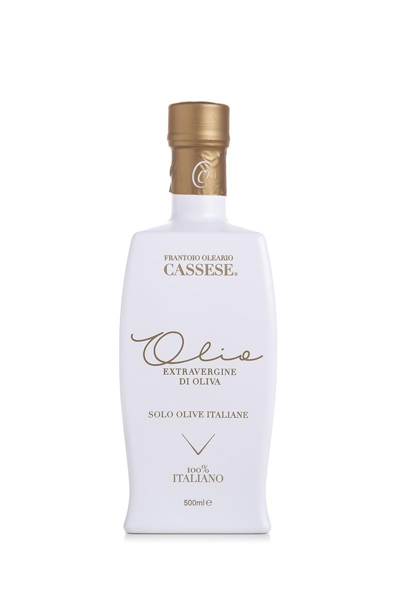 Olio extra vergine d'oliva 100% Italiano in bottiglia design bianca - Frantoio Oleario Cassese