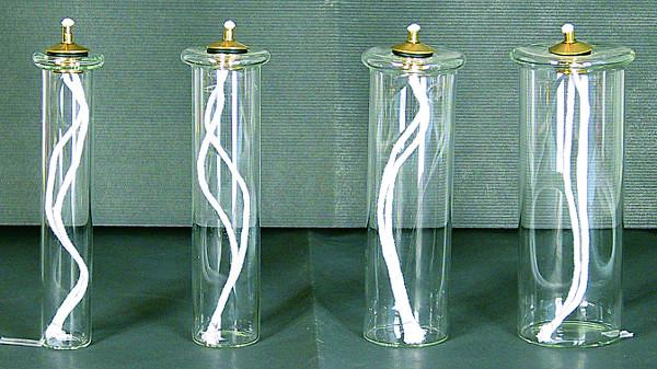 Cartuccia pirex mm. 58 alt. cm. 11 per finta  candela Ø 8