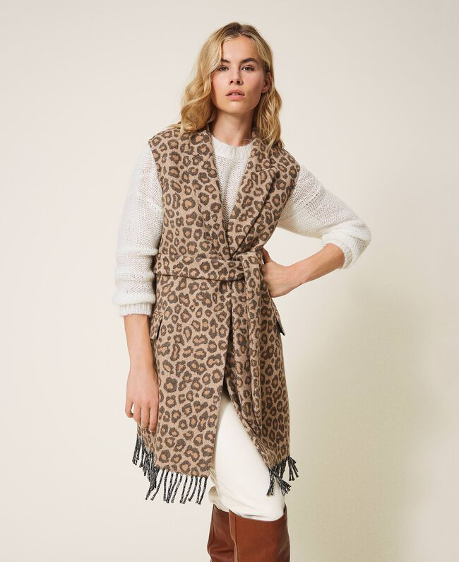 SHOPPING ON LINE TWINSET MILANO GILET IN PANNO JACQUARD ANIMALIER NEW COLLECTION WOMEN'S FALL WINTER 2020/2021
