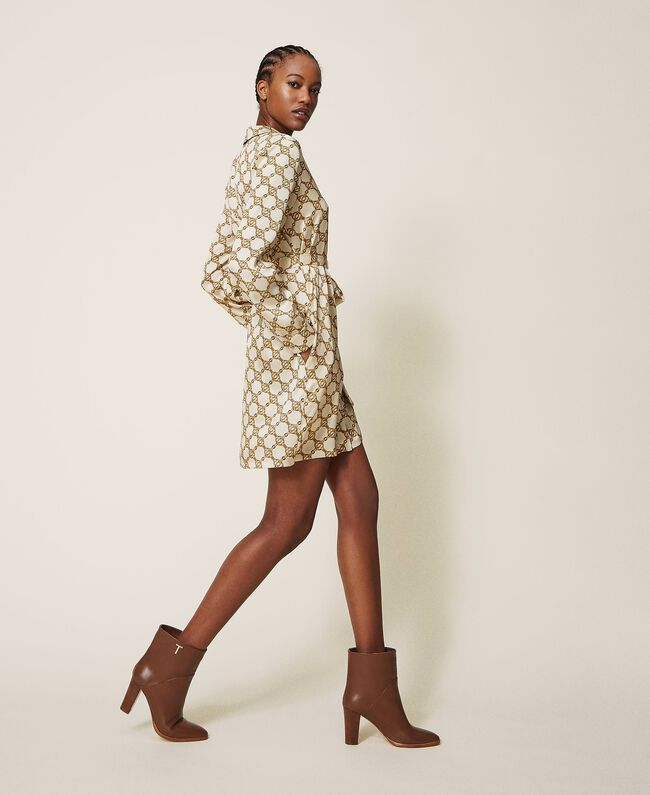 SHOPPING ON LINE TWINSET MILANO ABITO CHEMISIER CON STAMPA CATENE NEW COLLECTION WOMEN'S FALL WINTER 2020/2021