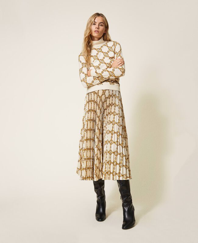 SHOPPING ON LINE TWINSET MILANO MAGLIA DOLCEVITA CON STAMPA CATENE NEW COLLECTION WOMEN'S FALL WINTER 2020/2021