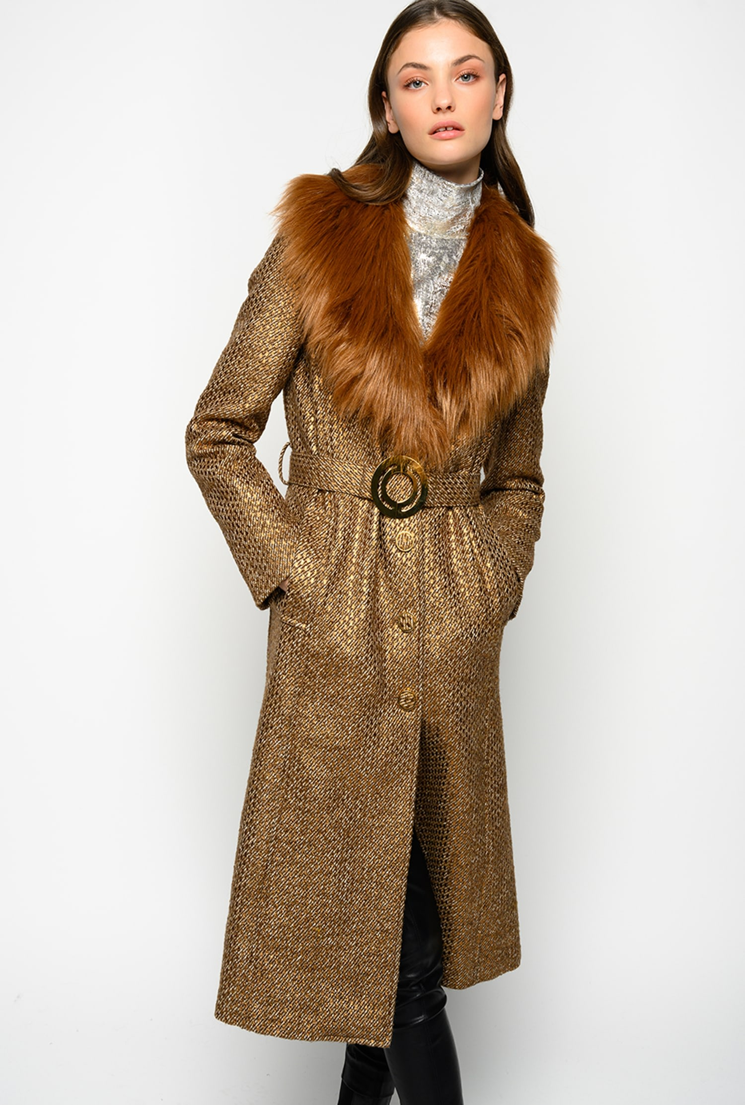 SHOPPING ON LINE PINKO CAPPOTTO LUNGO IN TWEED CON FAUX FUR METEORA NEW COLLECTION WOMEN'S FALL WINTER 2020/2021