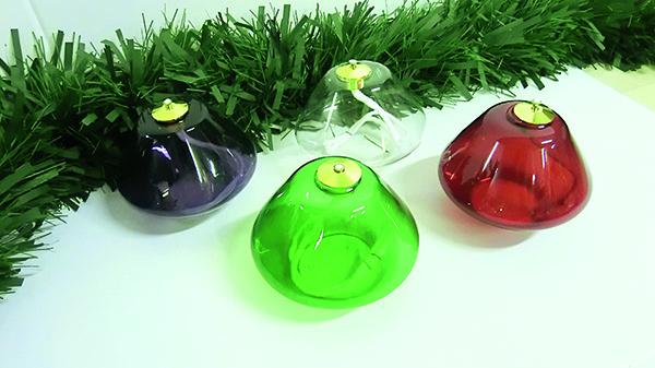 Set 4 lampade in vetro (viola, bianco, verde e  rosso) Ø 14
