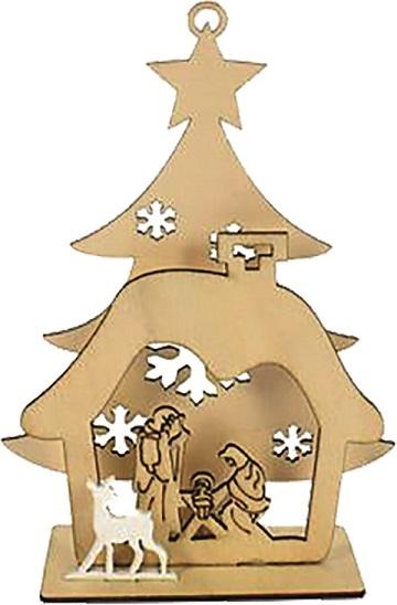 Albero con Natività in legno con luce