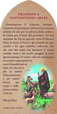 Tavoletta legno con orazione a S. Antonio Abate