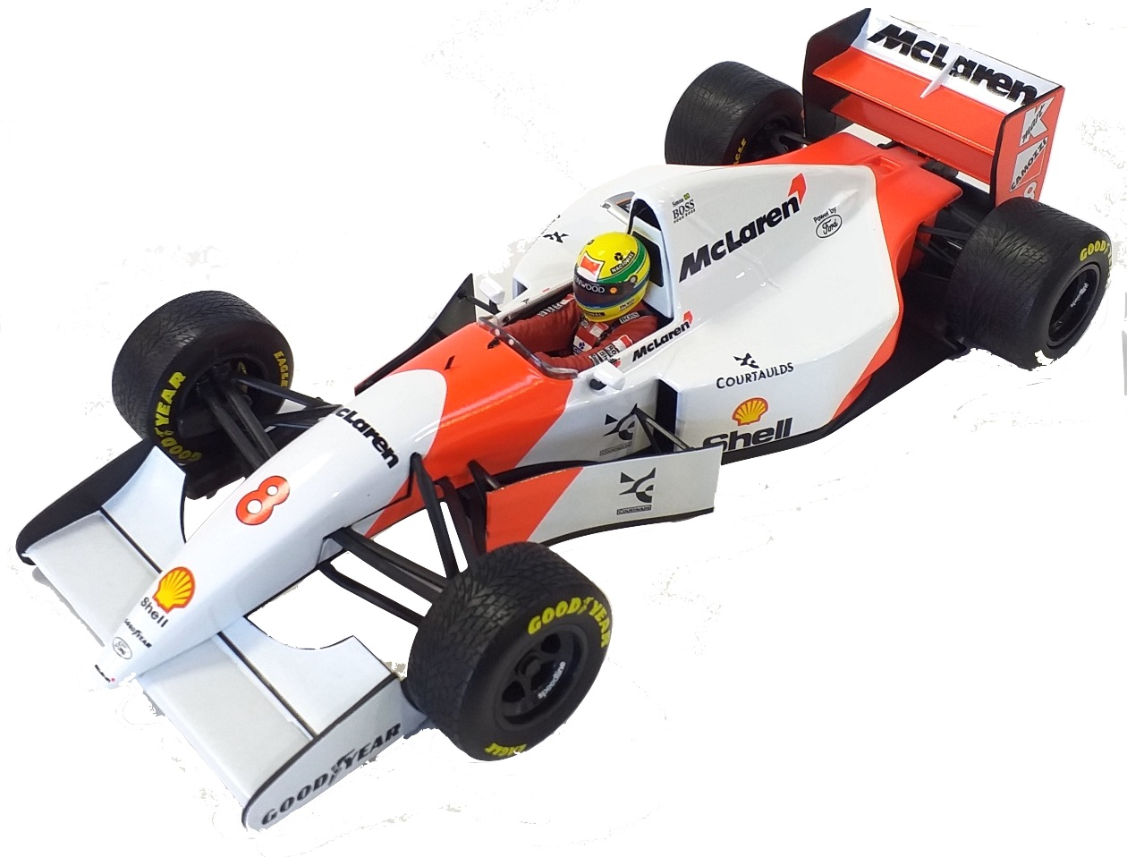 McLaren Ford Mp 4/8 Winner European Gp 1993 Ayrton Senna 1/18