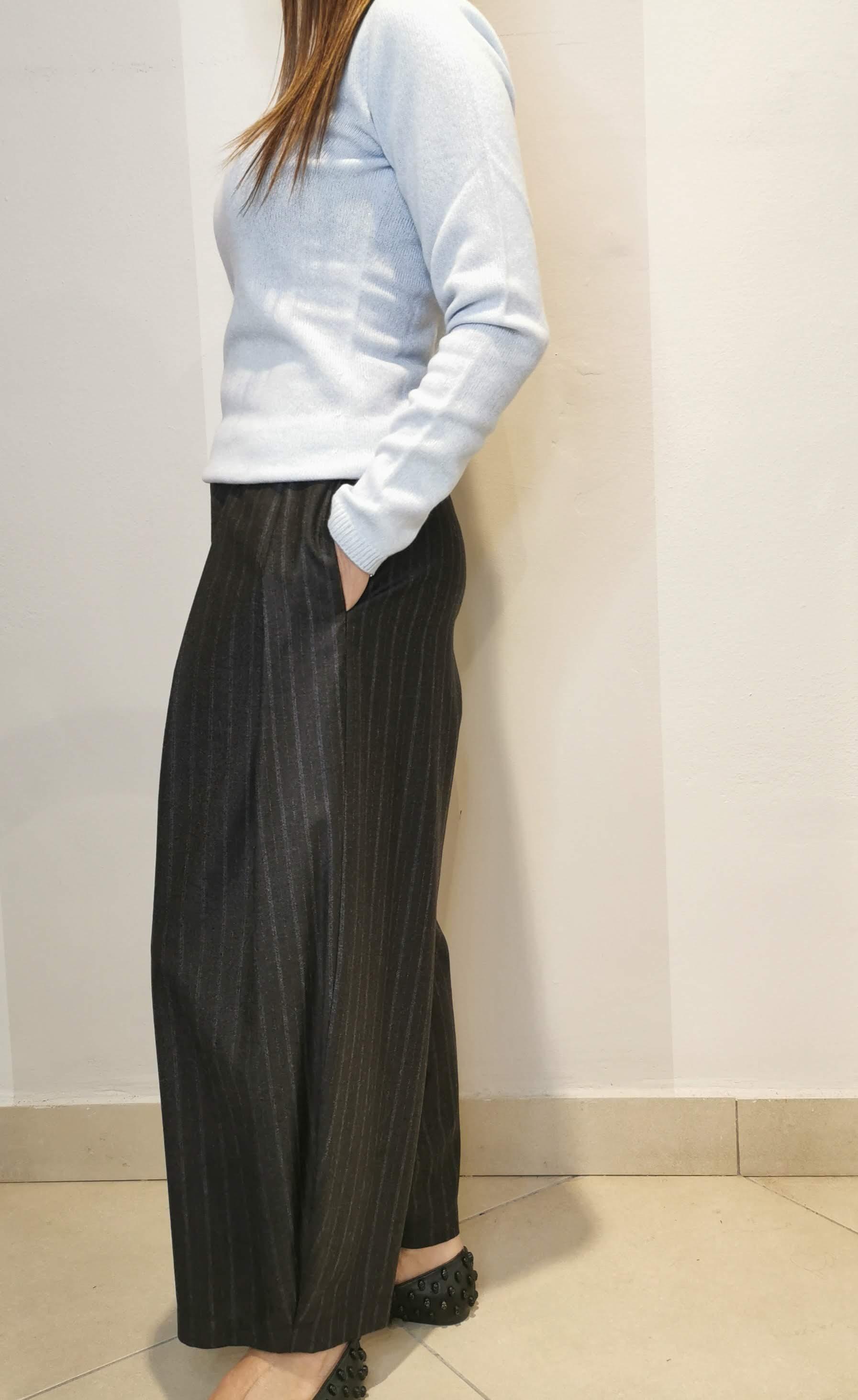 Pantalone gessato largo