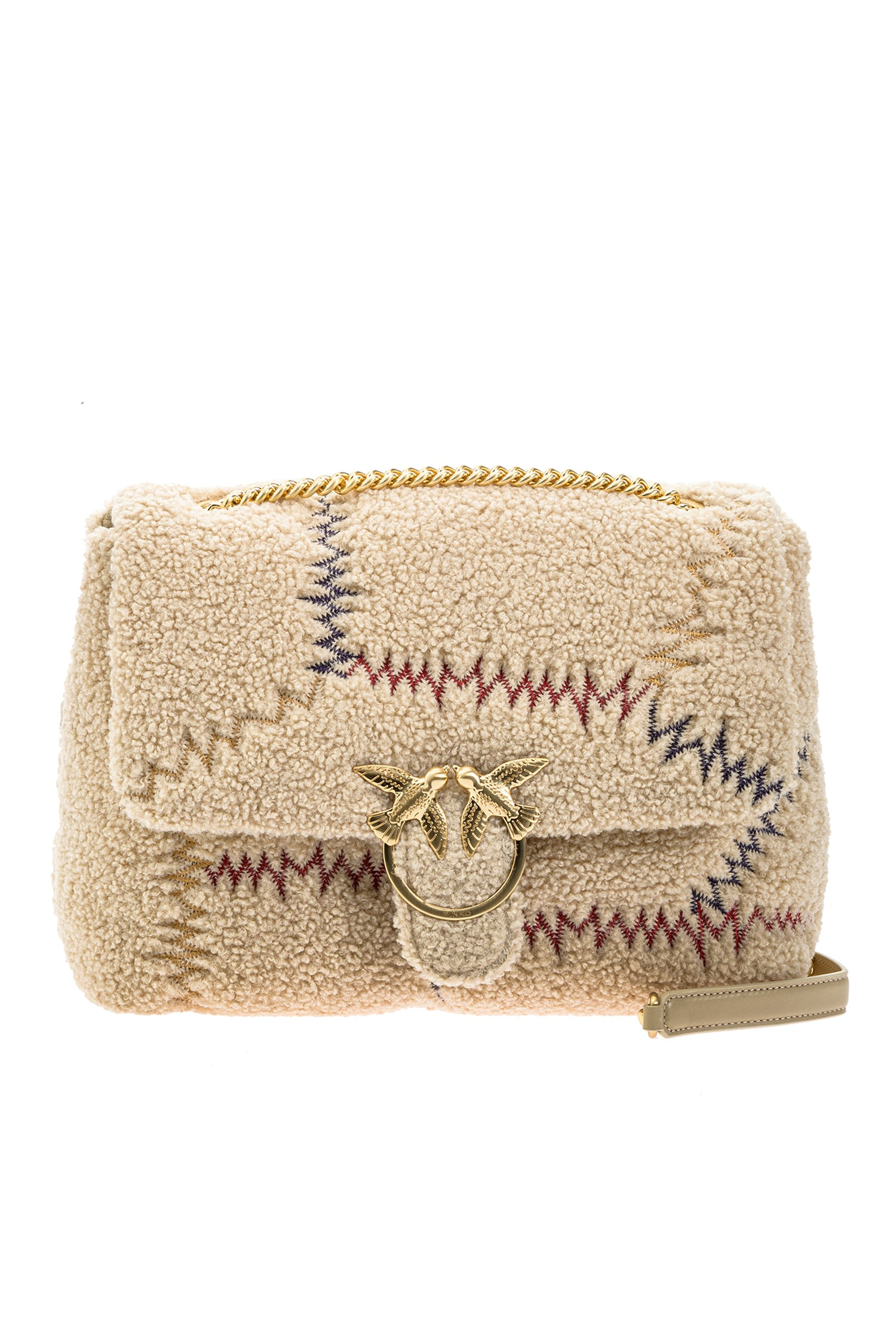 SHOPPING ON LINE PINKO BIG LOVE BAG PUFF FURRY IN FAUX FUR CON RICAMO NEW COLLECTION WOMEN'S FALL WINTER 2020/2021
