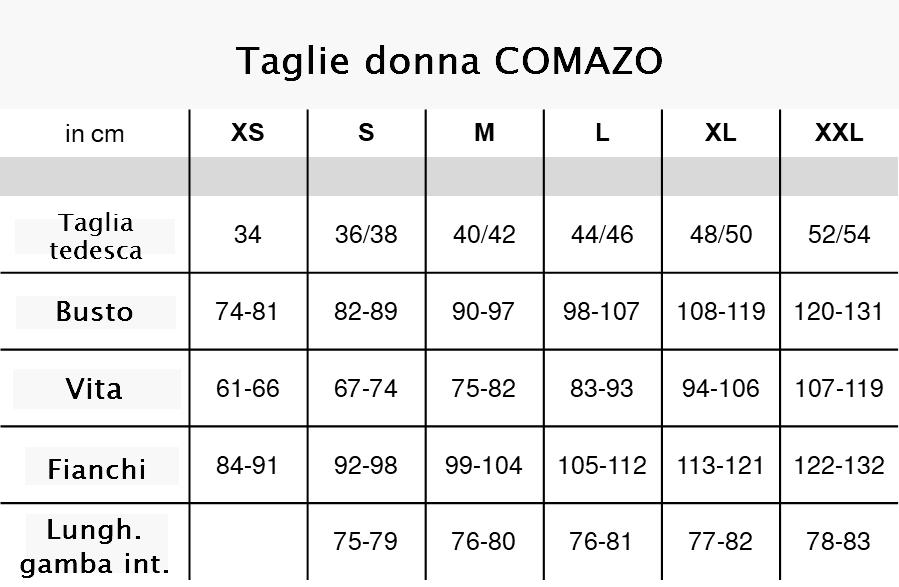 Taglie donna Comazo