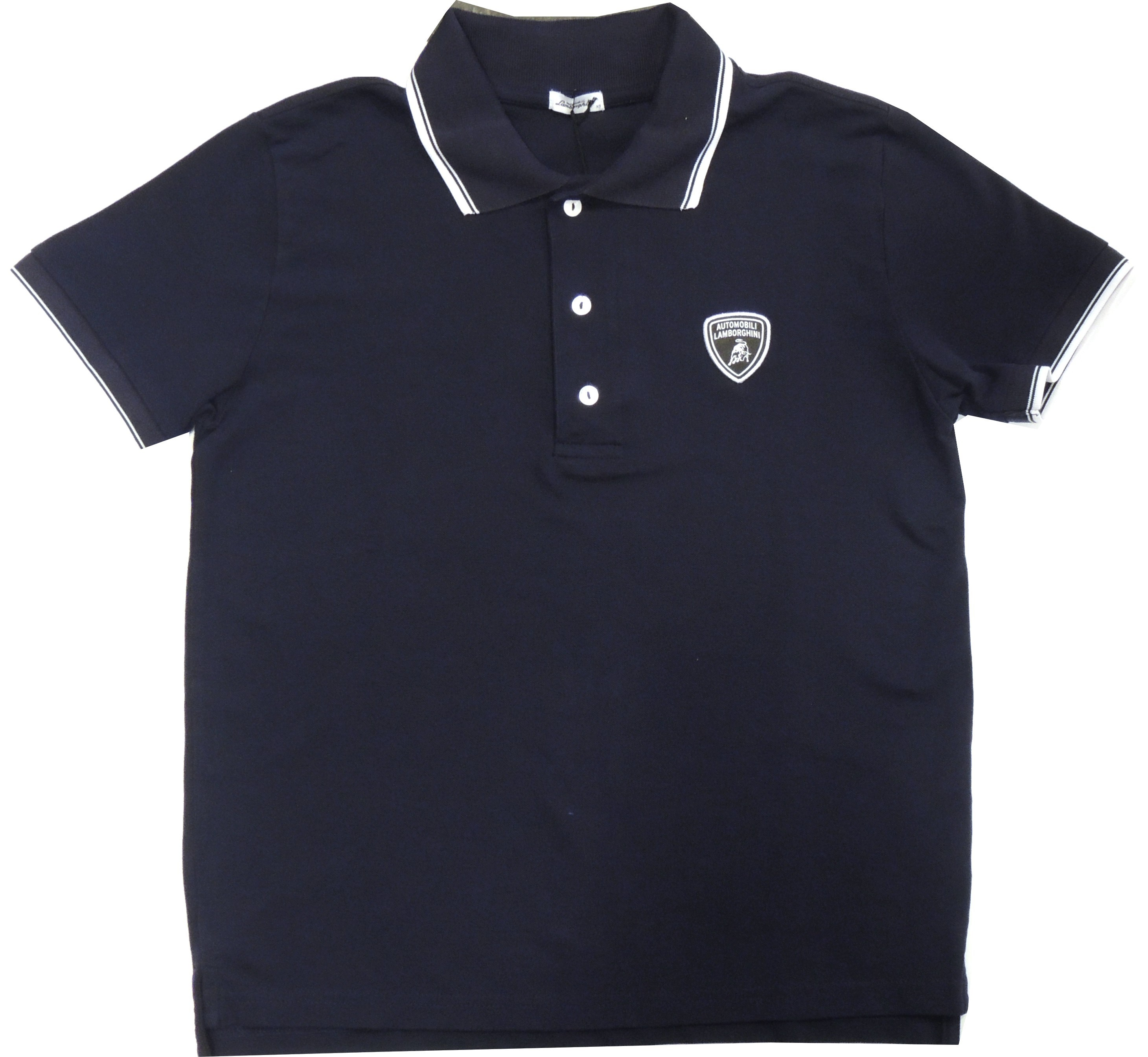 Lamborghini Men Basic Shield SS Soft Piquet Tipping Blue Navy