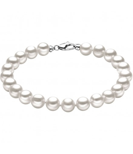 Bracciale perle da donna Comete gioielli con moschettone pesciolino in oro bianco