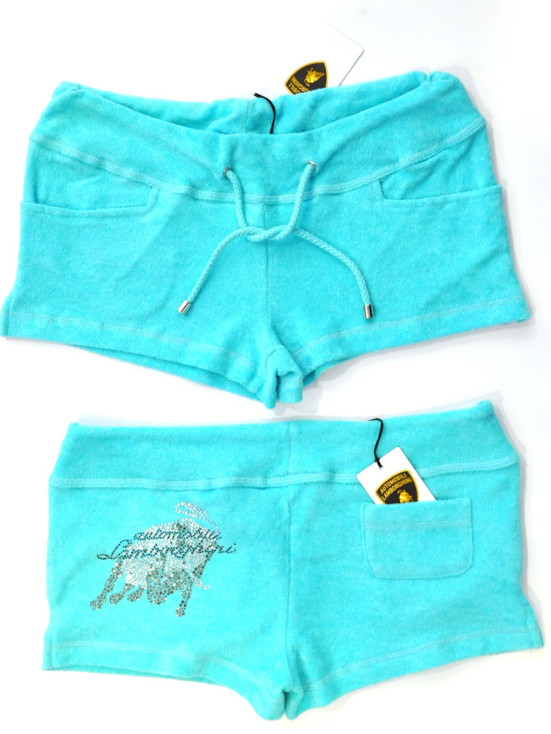 Lamborghini Ladies Terrycloth Hot Pants  Aqua