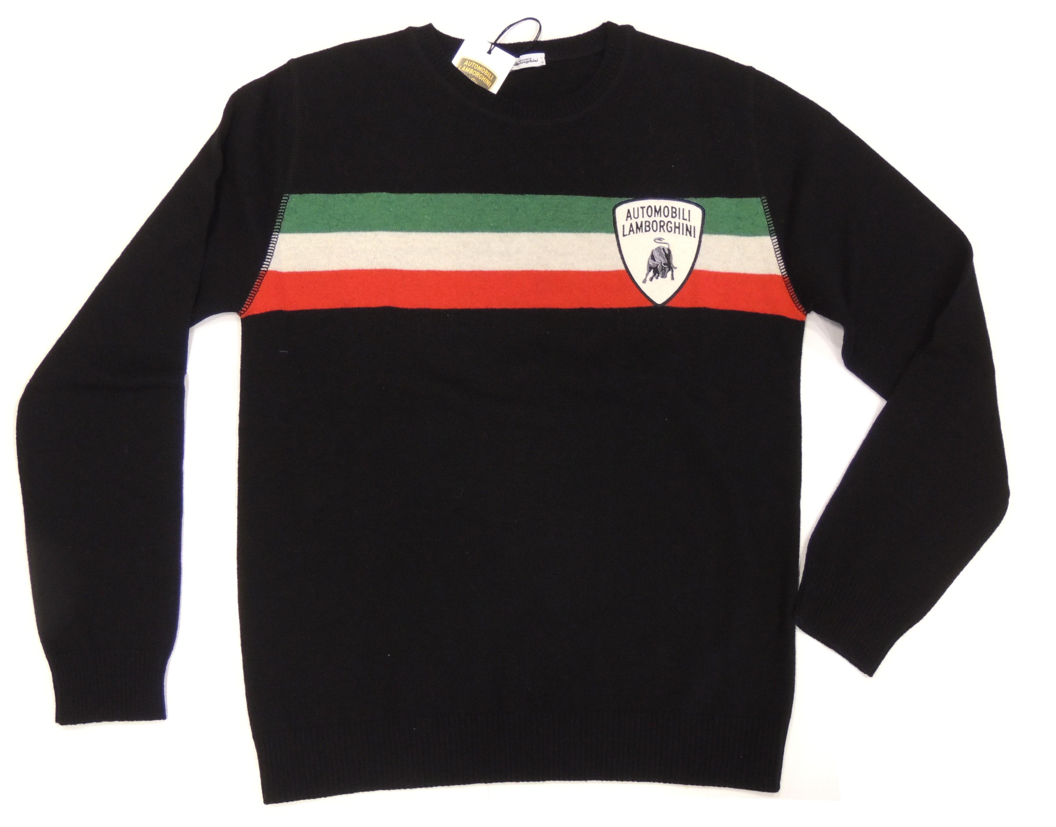 Lamborghini Men Tricolore Crew Neck Sweater Black