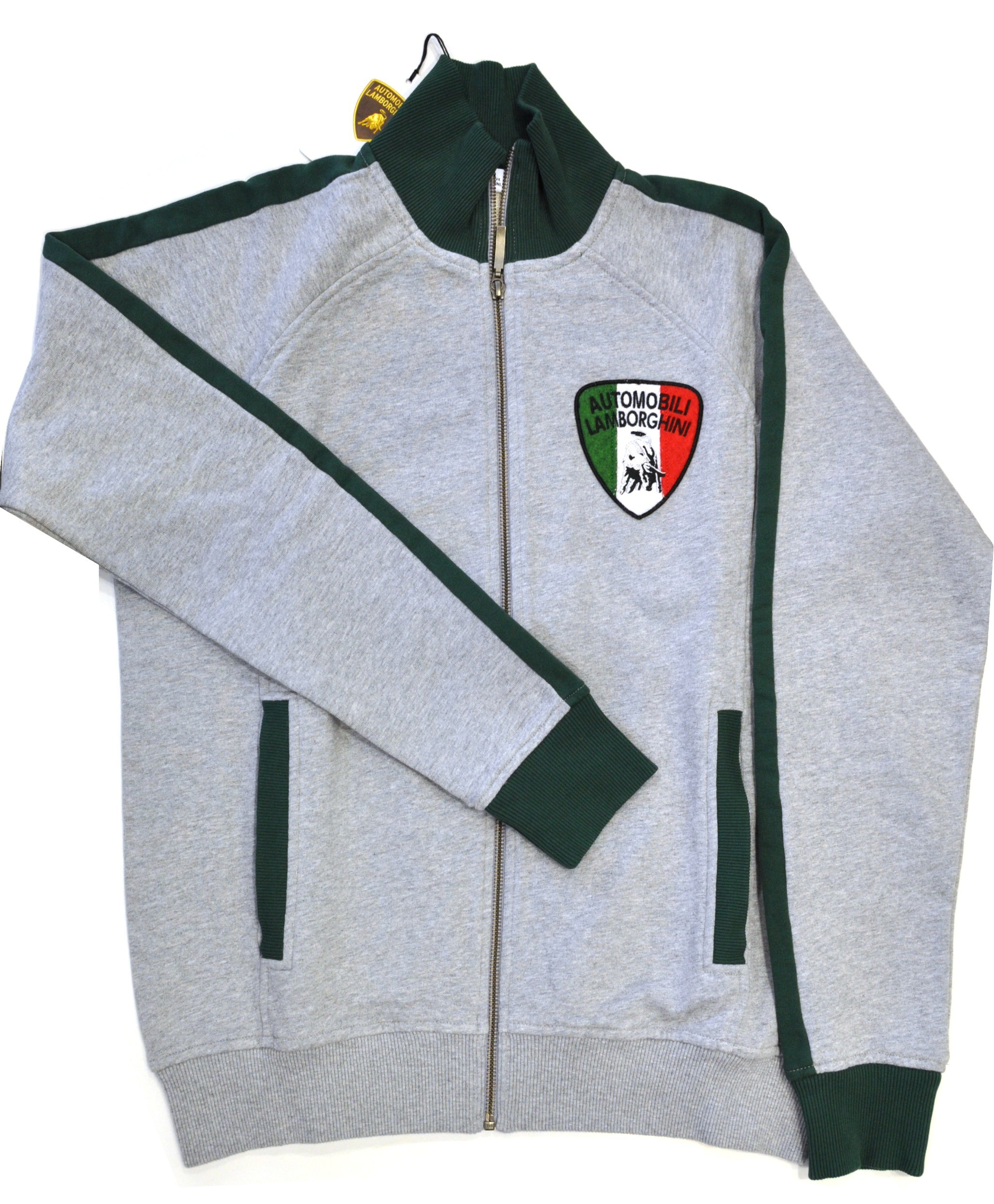 Lamborghini Men Contrast Sleeve Zip Up Sweatshirt Grey/Green