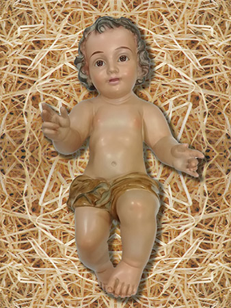 Gesù Bambino in gesso occhi di vetro cm. 50