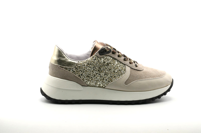 @GO Calzatura Donna Sneakers Ginger Gesso/Velour Nuvola/Glit.53 Oro/F.do Nero/Lat-SP.Lat RB900/SML