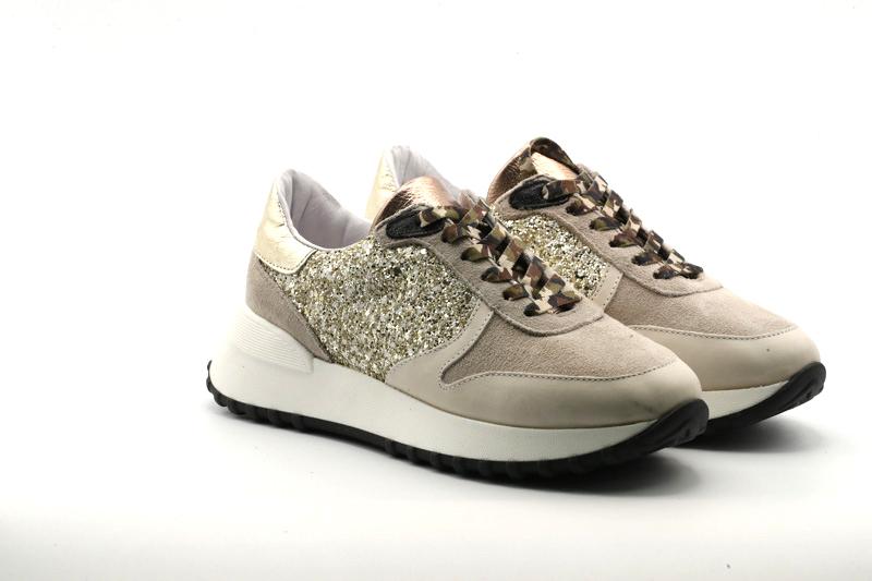 @GO Calzatura Donna Sneakers Ginger Gesso/Velour Nuvola/Glit.53 Oro/F.do Nero/Lat-SP.Lat RB900/SML