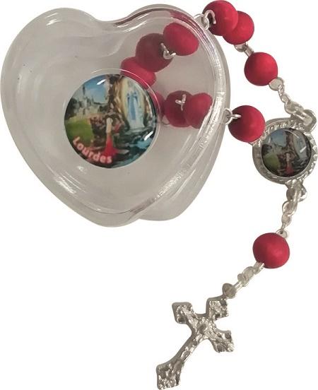 Decina profumata con cofanetto cuore Madonna di Lourdes