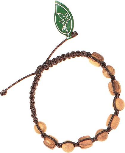 Braccialetto in corda grano in legno d'ulivo