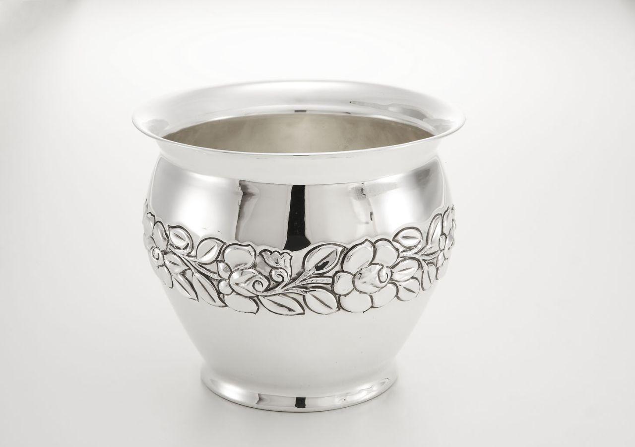 Portavaso rose argentato argento sheffield stile cesellato cm.20h diam.24,5