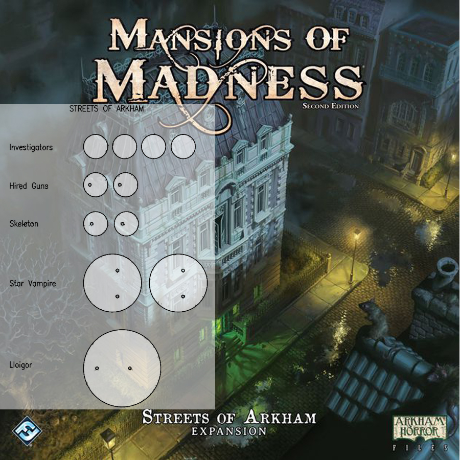 Mansions of Madness 2nd Ed. Streets of Arkham Clear Bases (x11)
