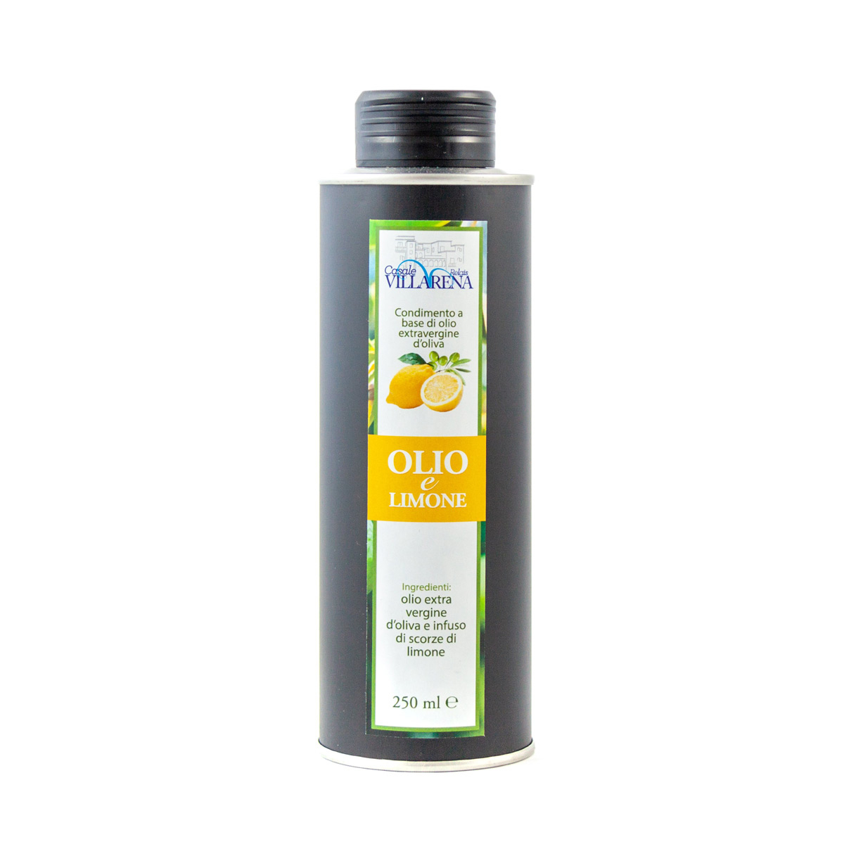 Extra virgin olive oil with lemon in can