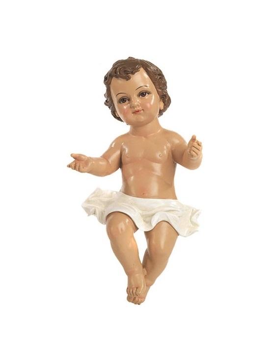 Gesù Bambino in resina con occhi di vetro cm. 34