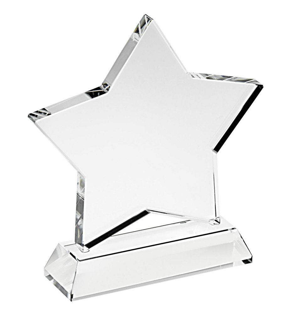 Trofeo STELLA in vetro bianco cm.2x8x11,5h