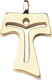 Croce tau in metallo dorato