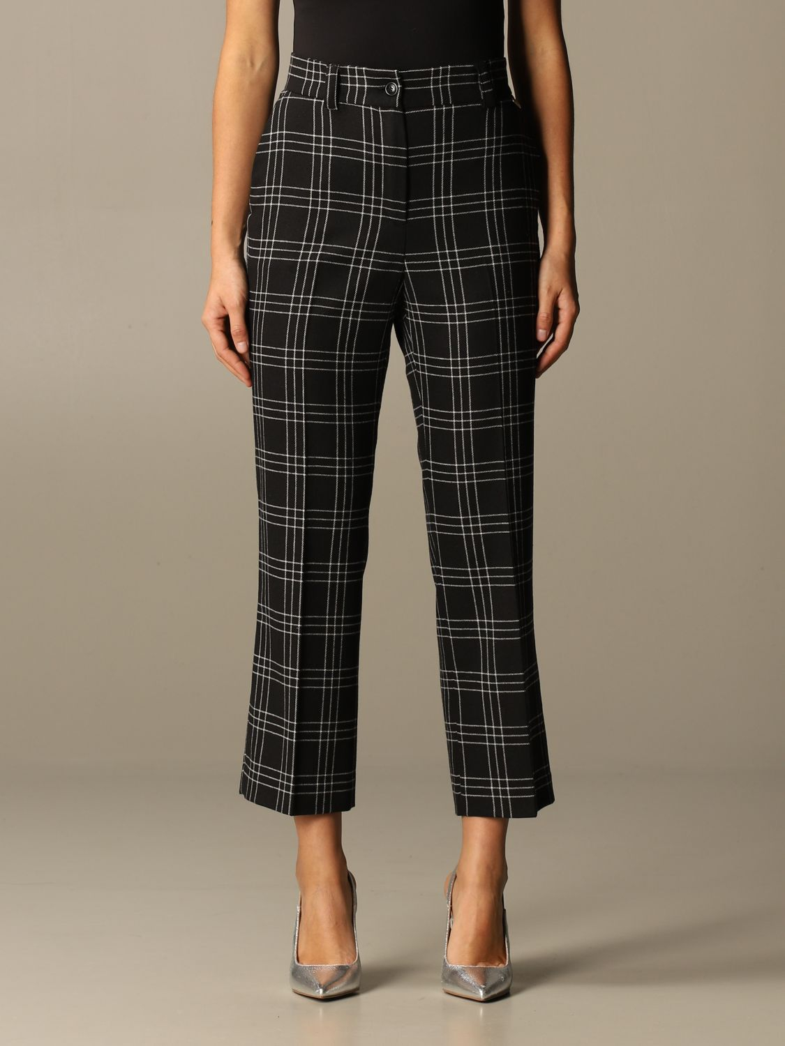 SHOPPING ON LINE TWINSET MILANO PANTALONI IN MISTO LANA STRETCH CHECK NEW COLLECTION WOMEN'S FALL WINTER 2020/2021