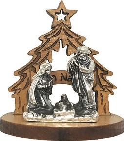 Natività in metallo su alberello con stella in legno d'ulivo