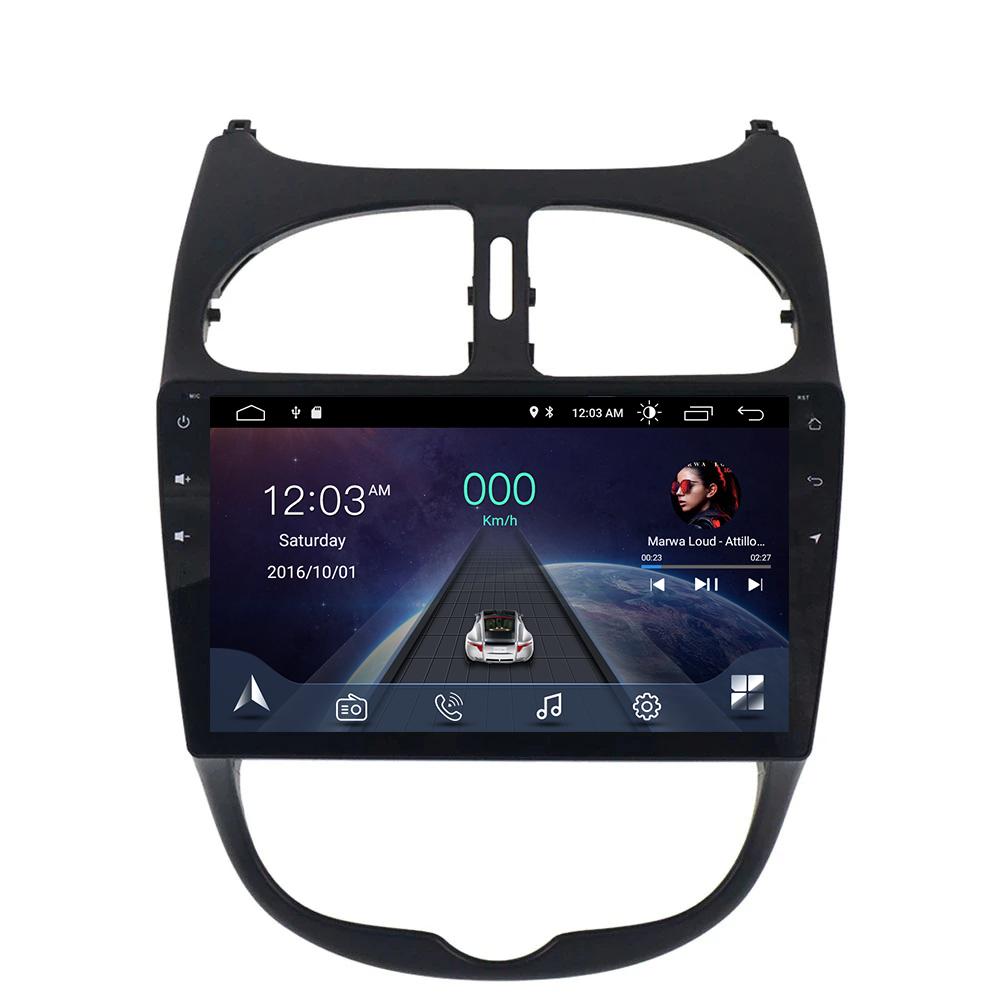 ANDROID 10 autoradio navigatore per Peugeot 206 2000-2008 GPS USB WI-FI Bluetooth Mirrorlink