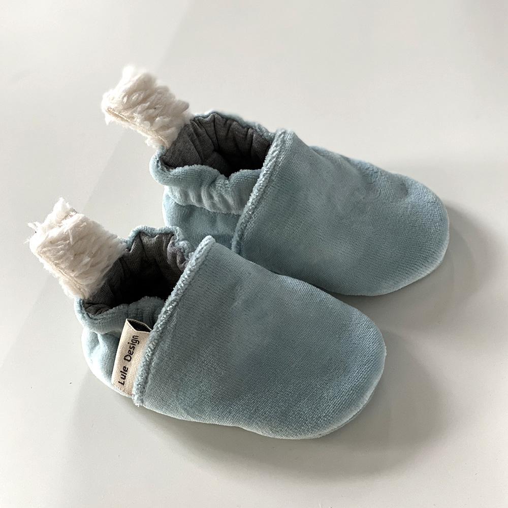 Scarpine antiscivolo azzurre in ciniglia di cotone biologico
