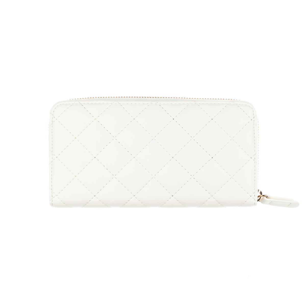 Portafoglio XL Zip Around matelassè bianco lana  LIU JO